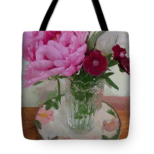 Tote Bag featuring the digital art Peonies With Sweet Williams by Alexis Rotella