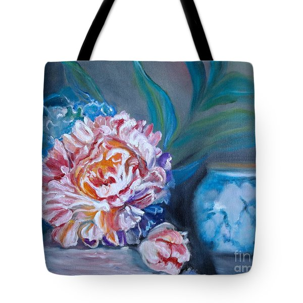 Peony And Chinese Vase Tote Bag