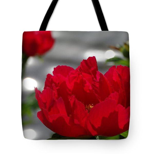 Peony In Red Tote Bag