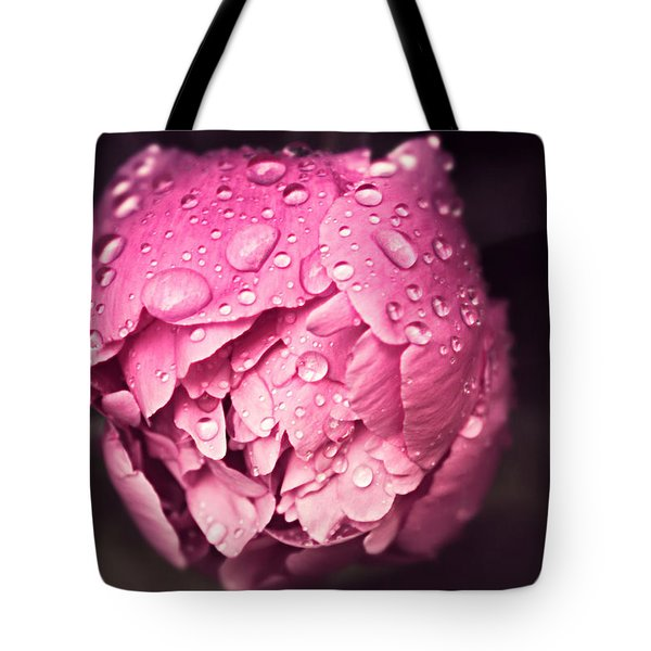 Peony In The Rain Tote Bag