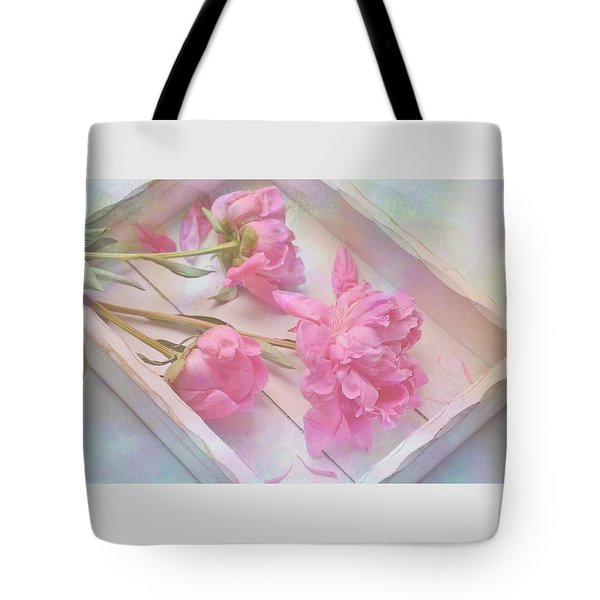 Peonies In White Box Tote Bag