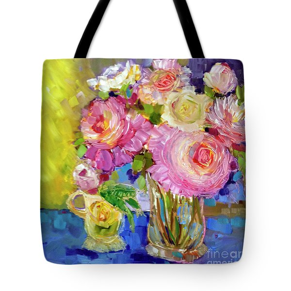 Tote Bag featuring the painting Peony Love by Rosemary Aubut