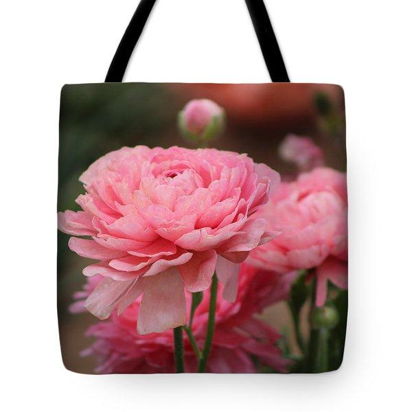 Peony Pink Ranunculus Closeup Tote Bag