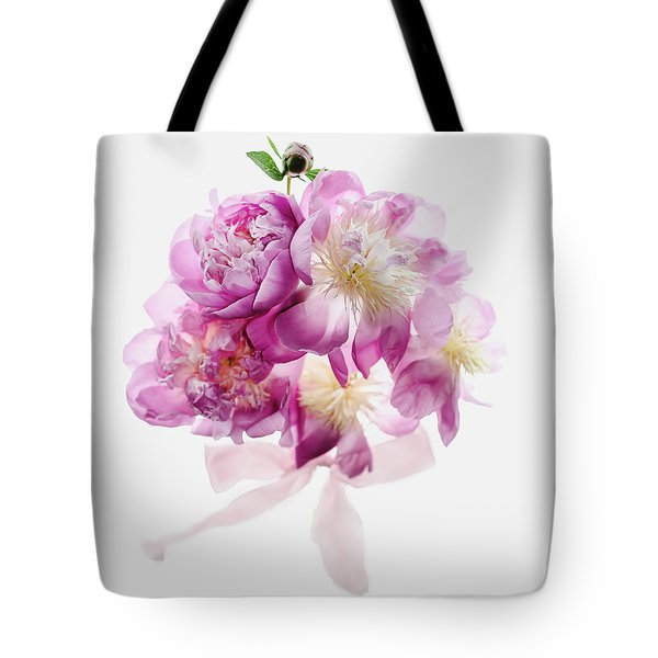 Tote Bag featuring the photograph Peony Pink Squared by Rebecca Cozart