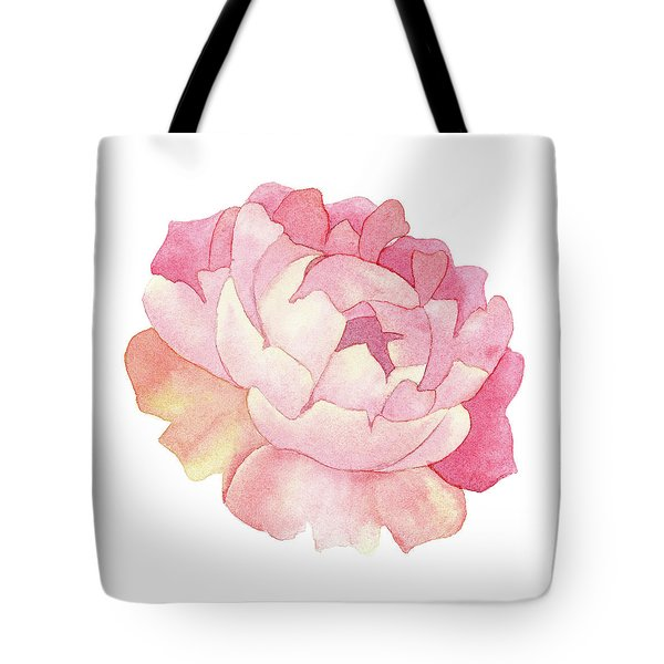Tote Bag featuring the painting Peony Watercolor  by Taylan Apukovska