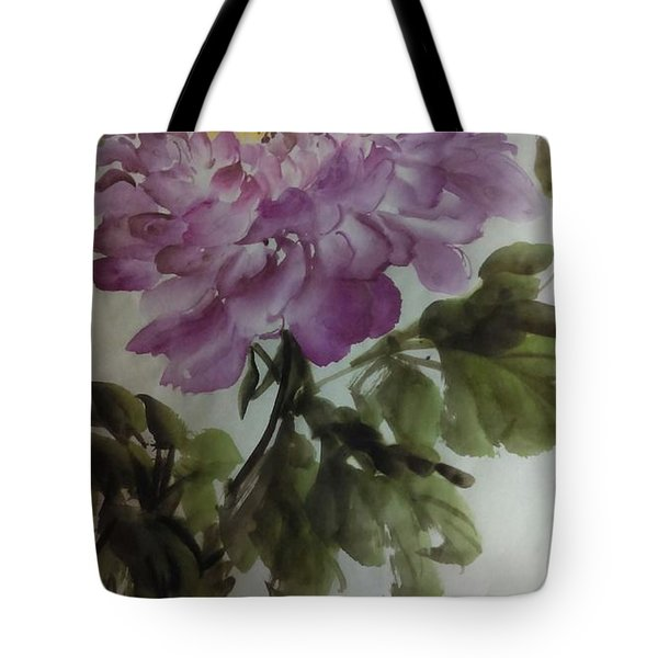 Tote Bag featuring the painting Peony20170126_1 by Dongling Sun