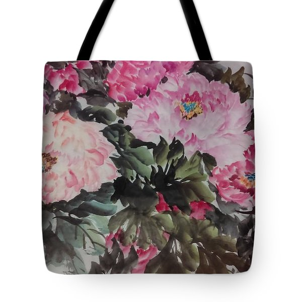 Tote Bag featuring the painting Peony20170126_2 by Dongling Sun