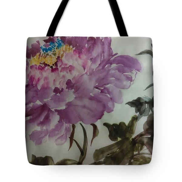 Tote Bag featuring the painting Peony20170213_1 by Dongling Sun
