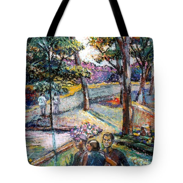 People In Landscape Tote Bag