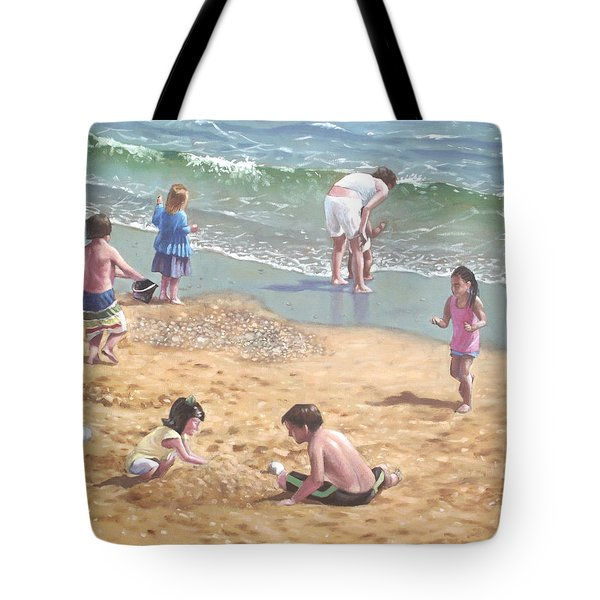 people on Bournemouth beach kids in sand Tote Bag by Martin Davey
