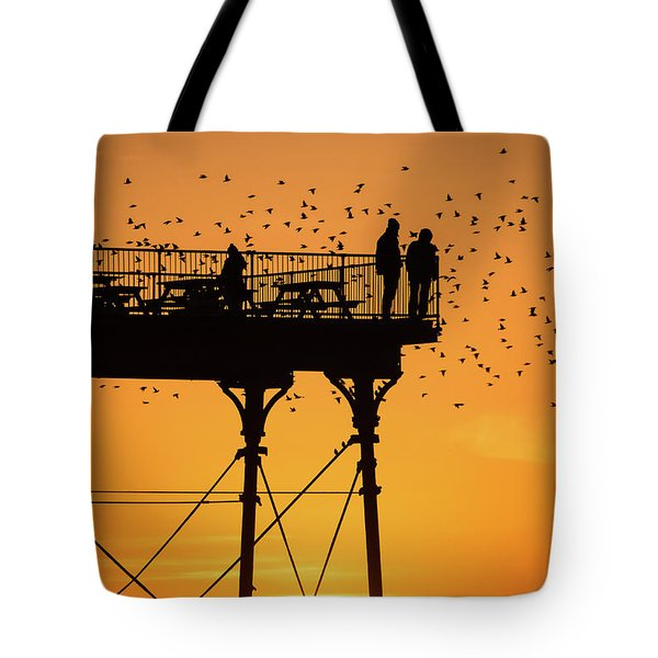 People On The Pier Sunset And Starlings In Aberystwyth Wales Tote Bag