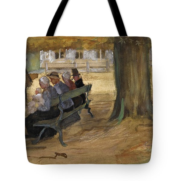 People Sitting On A Bench In Bezuidenhout. The Hague Tote Bag
