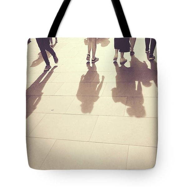 Tote Bag featuring the photograph People Walk The Golden Path by Rebecca Harman