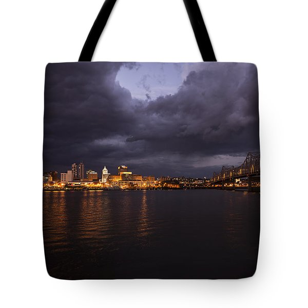 Tote Bag featuring the photograph Peoria Stormy Cityscape by Andrea Silies