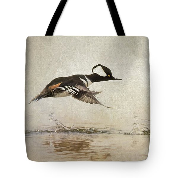 hooded mergansers tote bags fine art america. Black Bedroom Furniture Sets. Home Design Ideas