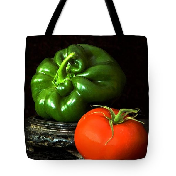 Tote Bag featuring the photograph Pepper And Tomato by Elf Evans