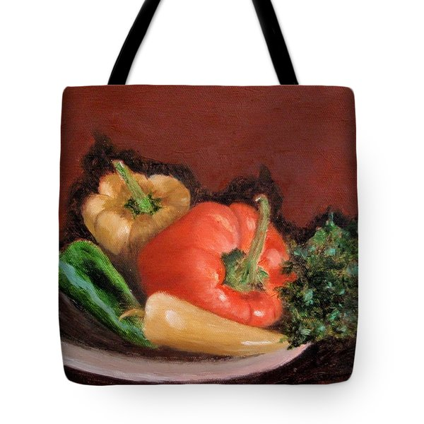 Peppers And Parsley Tote Bag by Jamie Frier