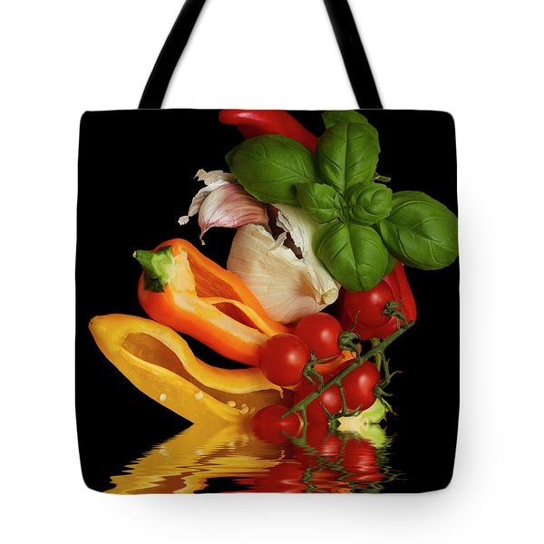 Tote Bag featuring the photograph Peppers Basil Tomatoes Garlic by David French