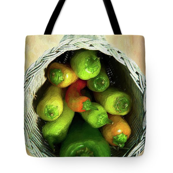 Tote Bag featuring the painting Peppers In A Horn Of Plenty Basket Ap by Dan Carmichael