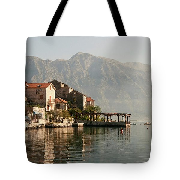 Tote Bag featuring the photograph Perast Restaurant by Phyllis Peterson