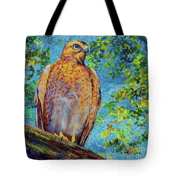 Perched Hawk Tote Bag