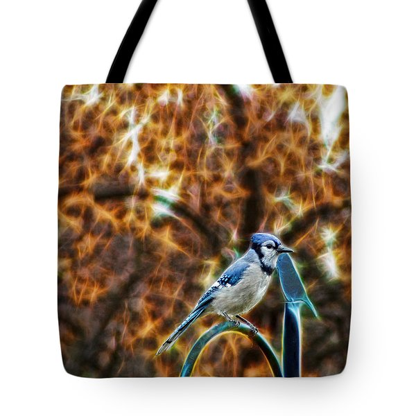 Perched Jay Tote Bag