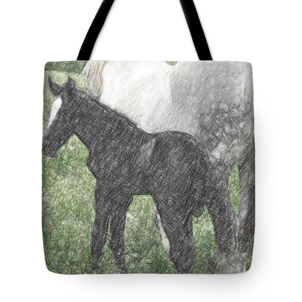 Percheron Colt And Mare In Pasture Digital Art Tote Bag