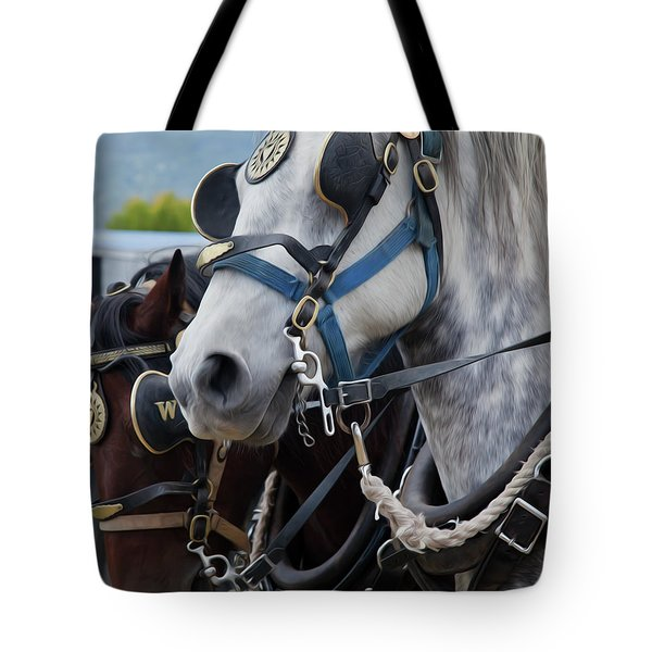 Tote Bag featuring the photograph Percheron Horses by Theresa Tahara