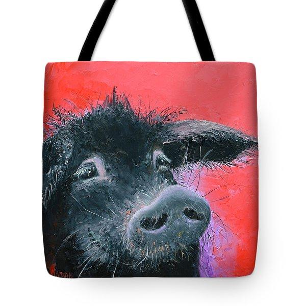 Percival The Black Pig Tote Bag