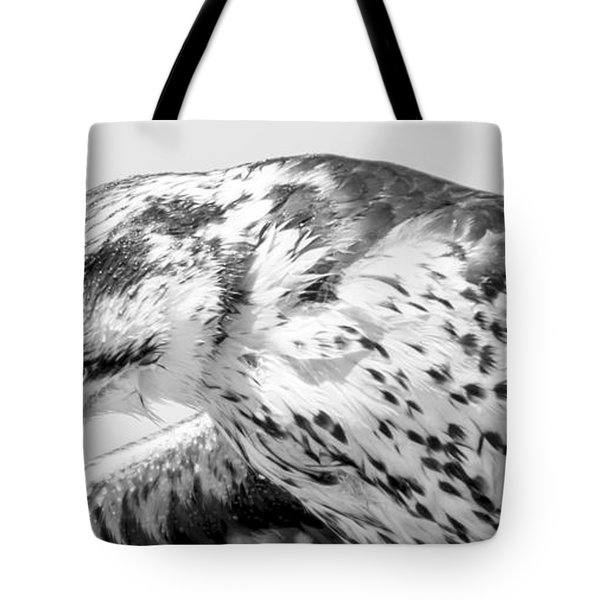 Peregrine Falcon In Black And White Tote Bag