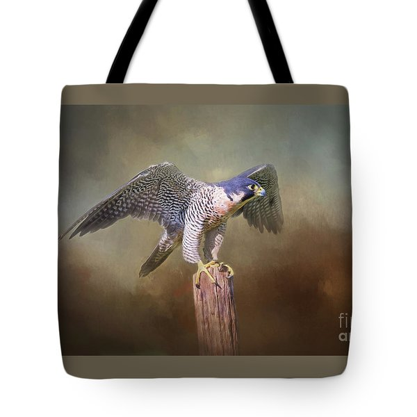 Peregrine Falcon Taking Flight Tote Bag