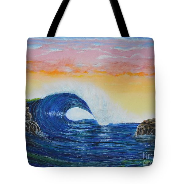 Tote Bag featuring the painting Perfect Curl by Mary Scott