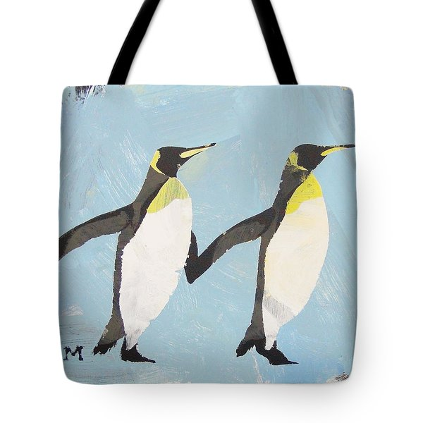 Tote Bag featuring the painting Perfect Penguins by Candace Shrope
