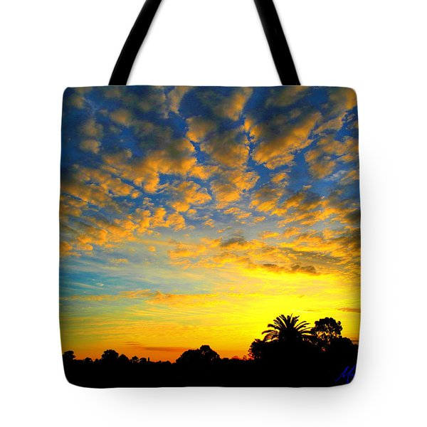 Tote Bag featuring the digital art Perfect Sunset by Mark Blauhoefer