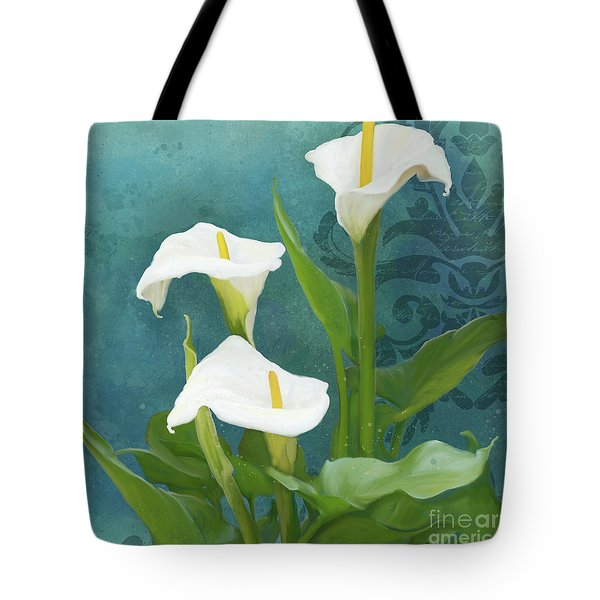 Tote Bag featuring the painting Perfection - Calla Lily Trio by Audrey Jeanne Roberts