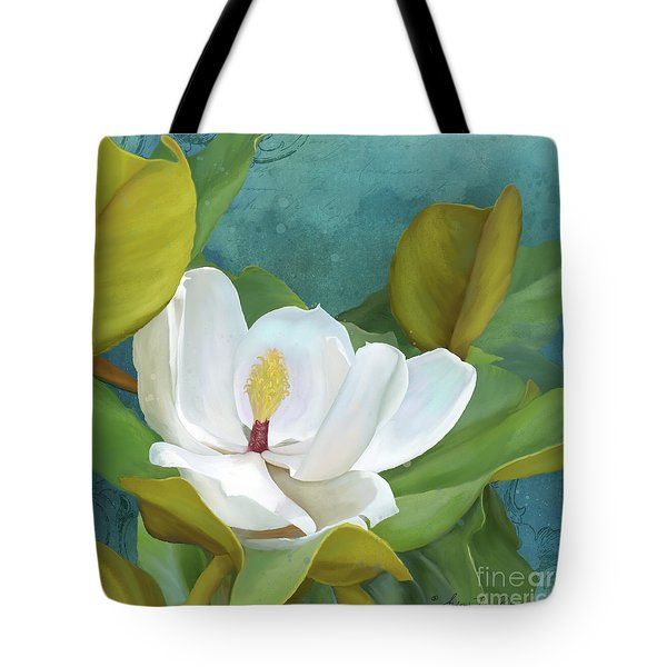 Tote Bag featuring the painting Perfection - Magnolia Blossom Floral by Audrey Jeanne Roberts