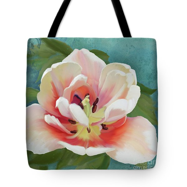 Tote Bag featuring the painting Perfection - Single Tulip Blossom by Audrey Jeanne Roberts
