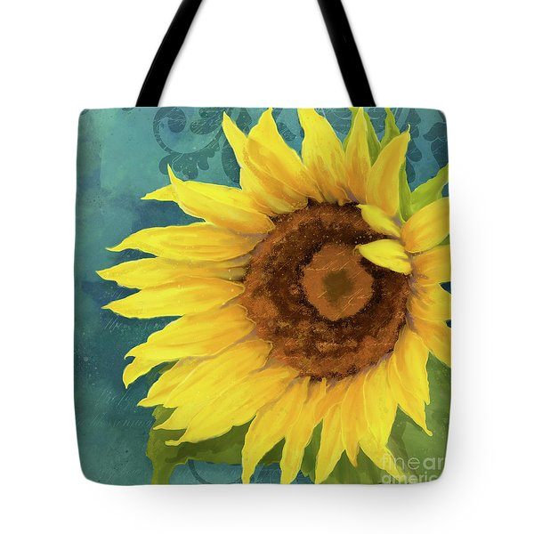 Tote Bag featuring the painting Perfection - Russian Mammoth Sunflower by Audrey Jeanne Roberts