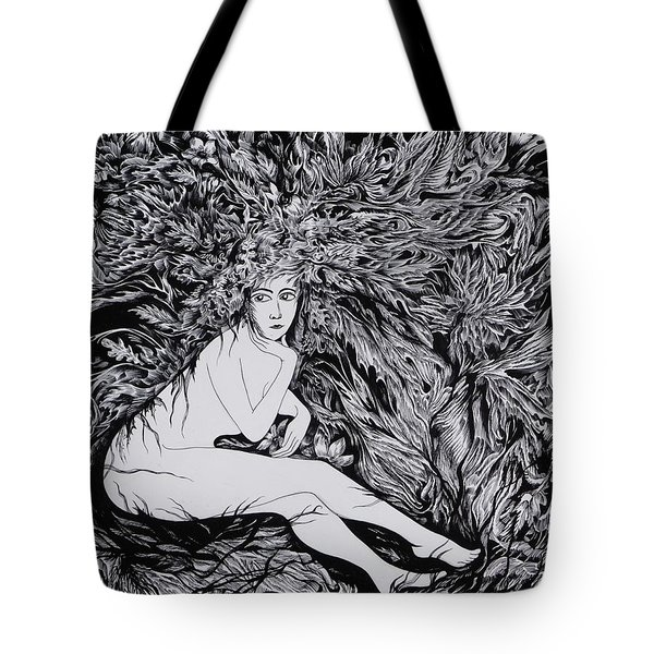 Tote Bag featuring the drawing Performance Of Autumn by Anna  Duyunova