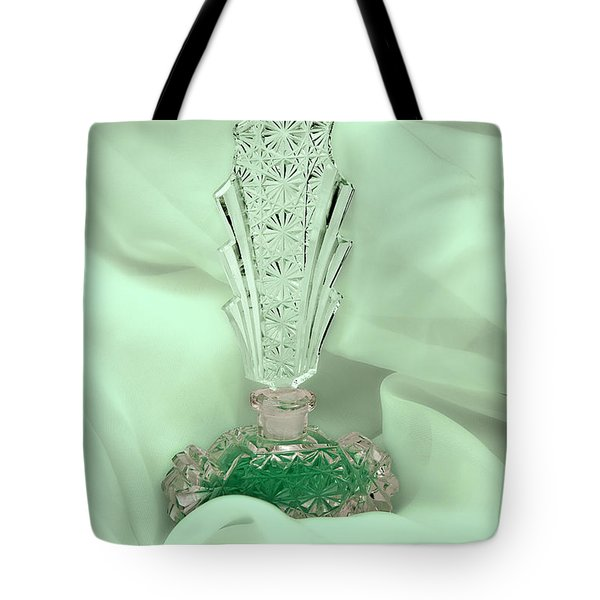 Perfume Bottle Still Life II In Green Tote Bag