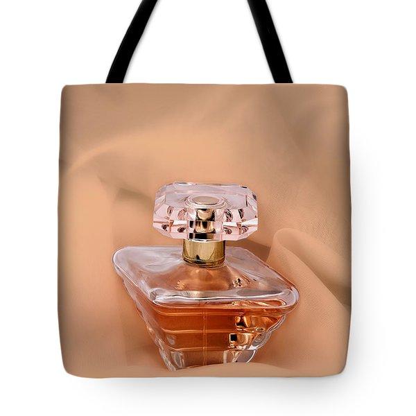 Perfume Bottle Still Life IIi In Peach Tote Bag by Tom Mc Nemar