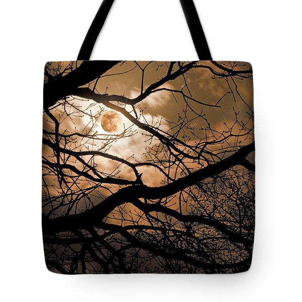 Perigee Moon In The Trees Tote Bag by Tamyra Ayles