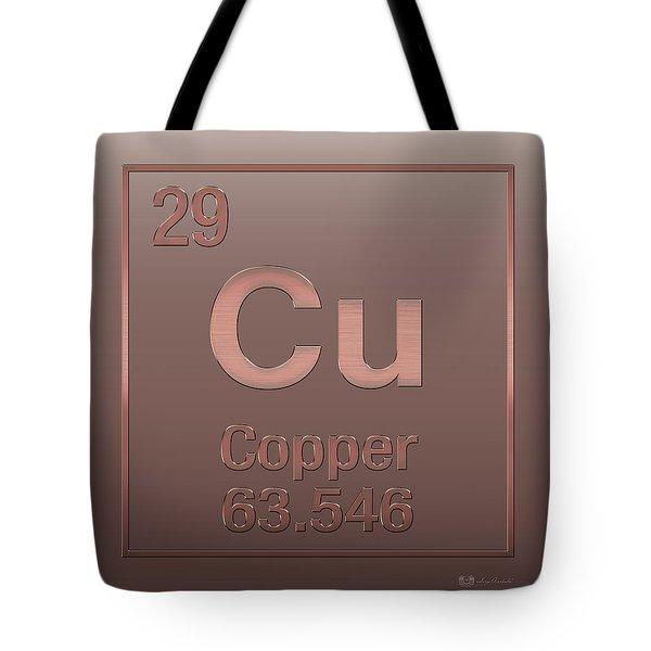 Periodic Table Of Elements - Copper - Cu - Copper On Copper Tote Bag