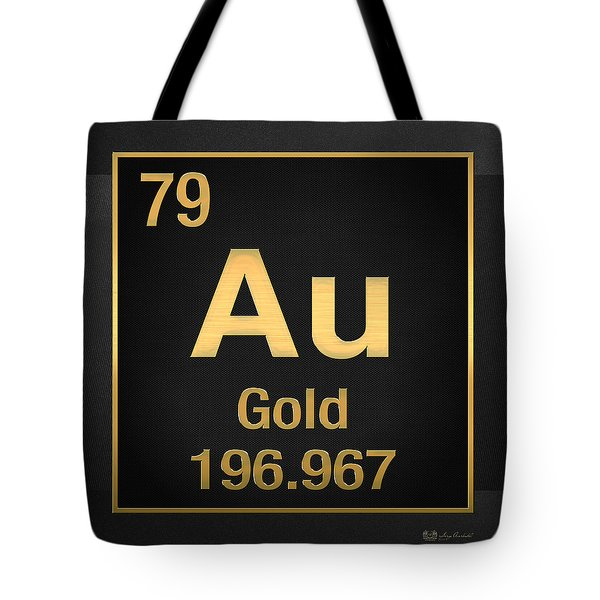 Periodic Table Of Elements - Gold - Au - Gold On Black Tote Bag
