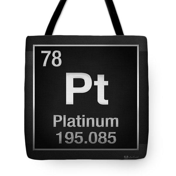 Periodic Table Of Elements - Platinum - Pt - Platinum On Black Tote Bag