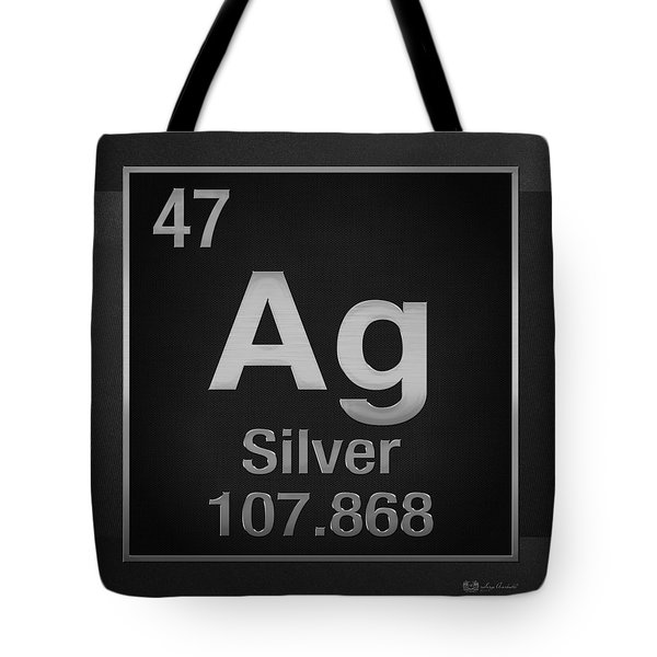 Periodic Table Of Elements - Silver - Ag - Silver On Black Tote Bag