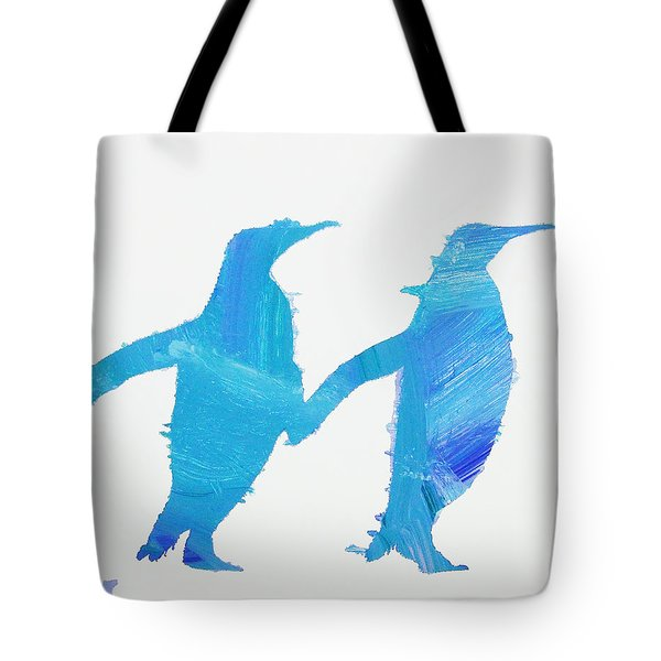 Tote Bag featuring the painting Perky Penguins by Candace Shrope