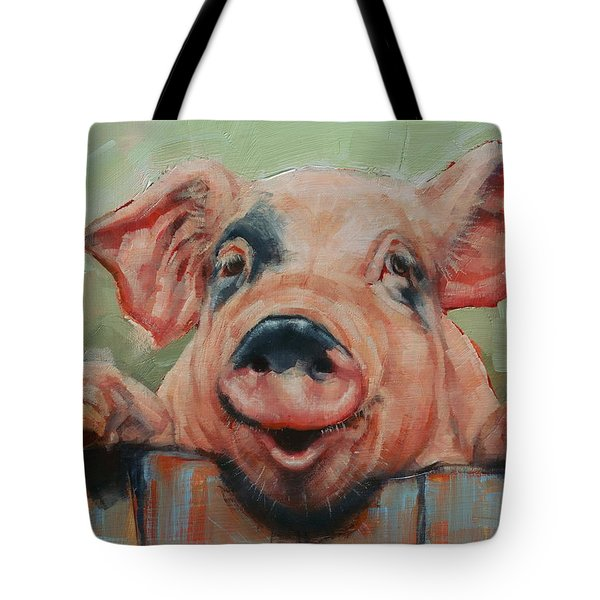 Perky Pig Tote Bag by Margaret Stockdale