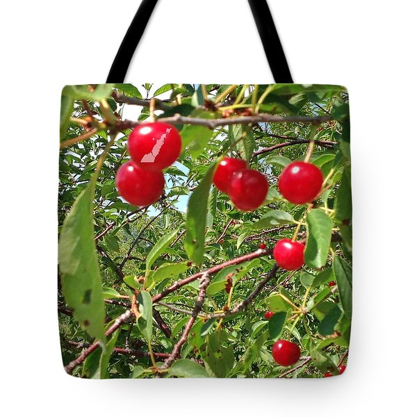 Tote Bag featuring the photograph Perry's Cherry Image by Perry Andropolis
