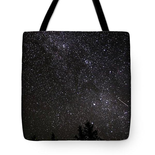 Perseid Meteor And Milky Way Tote Bag